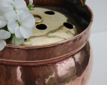 Copper planter flower holder, Rustic floral frog, Antique french country kitchen cottage garden decor