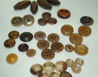Vintage Brown Buttons and Wooden Toggle Buttons.
