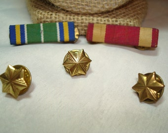 WWII Brass Stars and Military Navy Medals.