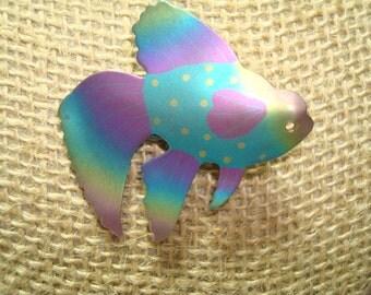 1996 Art Festival Rainbow Titanium Beta Siamese Fighting  Fish Pin.