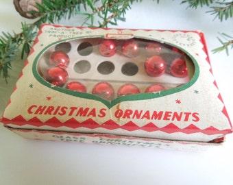 Vintage Mini Red Ornaments in Box, Christmas Decor, Trim A Tree