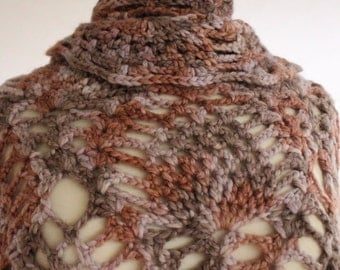Crochet Alpaca Heavy weight shawl, wrap, boho chic, multicolor, lavender, mauve, light pink, pineapple design, XL, ready to ship