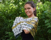 Birch tree scarf in gold, white and grey , latvian birch forest scarf