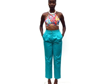 Teal green high waist high rise tapered trousers PETITE 1990s 90s VINTAGE
