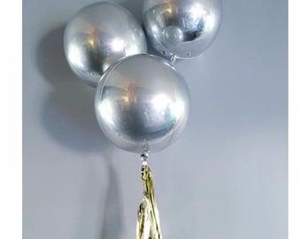 """Metallic Silver Bubble Balloon 16"""" - one balloon"""