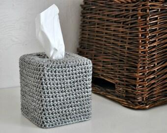 Grey Tweed Tissue Cover Bathroom Nursery Decoration Modern Neutral Home Decor