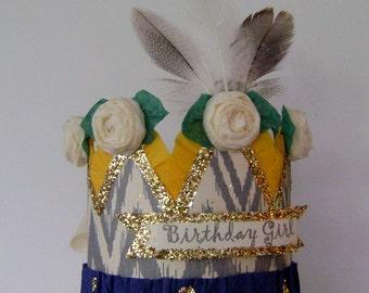 boho Birthday party Crown,  birthday party hat, boho crown, feather crown,  customized birthday hat