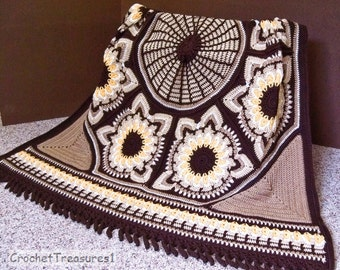 Fall Delights Sunflower Throw Afghan / autumn decor / large brown crochet afghans / new handmade throw blanket / yellow / soft / country