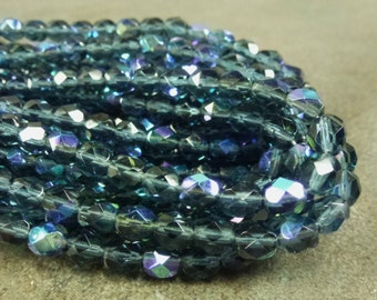 Montana Blue AB Czech Glass Firepolish Beads 6mm Faceted Glass 25pc