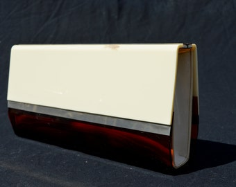 Vintage 70's LUCITE clutch Modern design streamline mid century cool purse bag handbag art deco by thekaliman