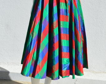 Vintage 50's Plaid acetate checkered pleated skirt MODERN JR skirt poodle rockabilly swing 28 W full by thekaliman