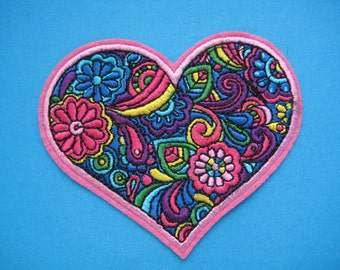 Iron-on Embroidered Patch Beautiful Heart 3.75 inch