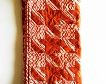 Baby Crib Blanket - Orange Houndstooth