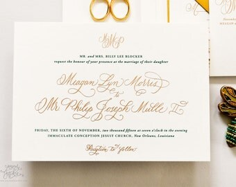 INVITATION SAMPLE The Hunter Suite - Gold and Green Calligraphy Wedding Invitation - Heirloom Wedding Invitations by Sincerely, Jackie