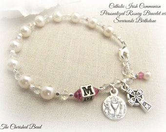 Irish Catholic Communion Personalized Birthstone Rosary Bracelet with Celtic cross and Chalice charm