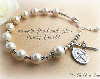 Beautiful Swarovski White Pearl & Silver Rosary Bracelet with Miraculous medal