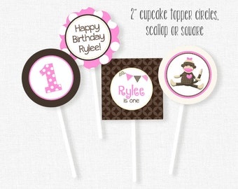 Sock Monkey Cupcake Toppers, Monkey Birthday Toppers, Pink Sock Monkey Party Decorations, Printable Birthday Cupcake Circles