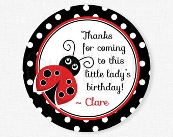 Ladybug Favor Tags, Ladybug Gift Tags, Red and Black Party Favors, Girl Birthday Tags, Ladybug Birthday, Personalized