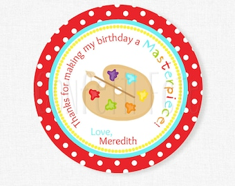 Art Party Favor Tags, Painting Party Favor Tags, Art Birthday Favor Tags, Thank You Tags, Birthday Favors, Personalized