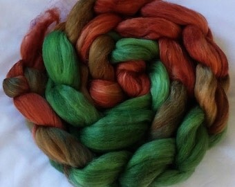 "Hand Dyed Polwarth/ Yearling Mohair/Silk Combed Top ""Coppermine"" 4 Oz."
