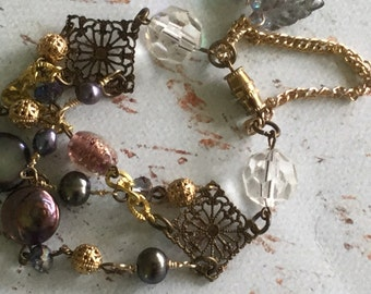 Multistrand purple pearls mixed media bracelet~vintage inspired~ooak~junk gypsy wedding