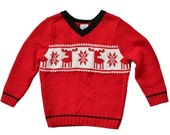 BLOWOUT 40% off sale Vintage 90s Reindeer Red Black Sweater - Kids Size 18 to 24 Months  - Childrens Ugly Christmas