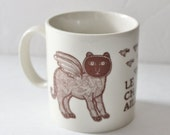 50% half off sale // Vintage 70s Taylor and NG RARE Le Chat Ailé Coffee Mug - Made in Japan, ceramic, brown, cat cup