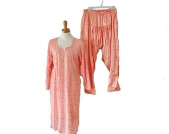 back to school sale // Vintage 70s Gorgeous Sequin Peach Kameez Tunic and Harem Pants Set - Women Large, costume, India