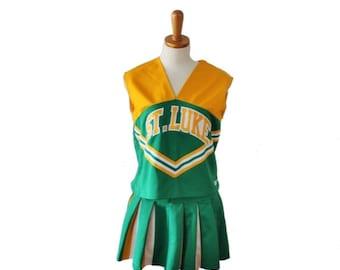 30% off sale // VIntage 80s St Luke Green Yellow Cheerleading Uniform // women M L // Squad One, Halloween costume