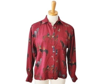 30% off sale // Vintage 80s Horse and Hound Button Down Blouse - Women Small Medium - JG Hook, maroon, Victorian scene