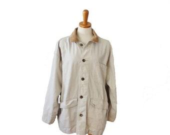 sale // Vintage 90s Eddie Bauer Beige Canvas Jacket - Men M - Barn Coat