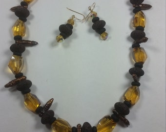 Brown Lava Rock and Swarovski crystals