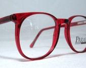 Vintage 80s Large Red Horn Rim Eyeglass Frames.