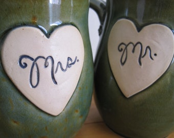 2016 Newlywed Couple Mr. and Mrs. mug set In Antique Green Just married, Ready to Ship