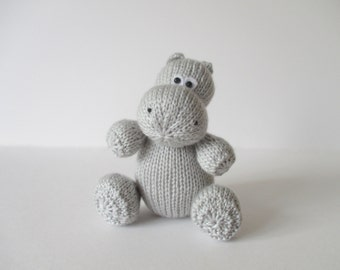 Huggins the Hippo toy knitting pattern