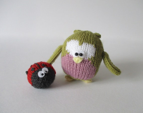 Cricklewood Owl and ladybird toy knitting patterns by fluffandfuzz
