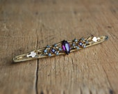 Antique Victorian amethyst rhinestone bar pin