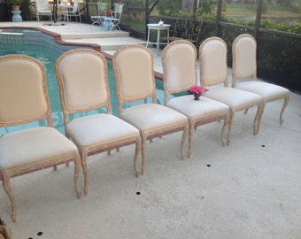 Serge Roche Style Chairs / 6 Palm Frond Carved Wood Palmate Chairs / Faux Bois Style Chairs / Faux Bois  Style at Retro Daisy Girl