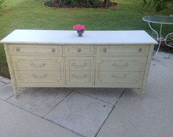 FAUX BAMBOO THOMASVILLE Dresser Faux Bamboo Fretwork Dresser / Faux Bamboo Credenza/ Server at Retro Daisy Girl