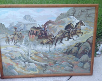 "COWBOYS AND INDIANS Paint by Numbers Painting / Whimsical Vintage Painting / Little boys room Artwork / 25"" x 19"" at Retro Daisy Girl"