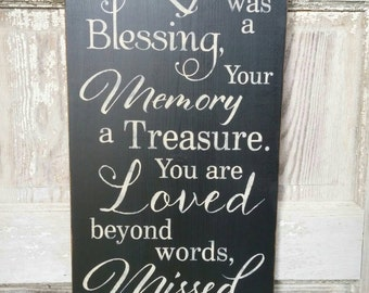 Your Life Was A Blessing,  Word Art, Typography, Subway Art, Primitive Wood Wall Sign, Handmade