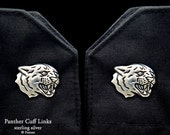 Panther Cuff Links Sterling Silver Black Panther Cuff Links