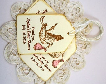 Personalized Baby Girl Stork Thank You Tags, Custom Baby Shower Favor Tags, Personalized Stork Favor Tags