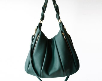 Soft Leather Handbag OPELLE Lotus Bag in Emerald Dark Green Leather hobo bag