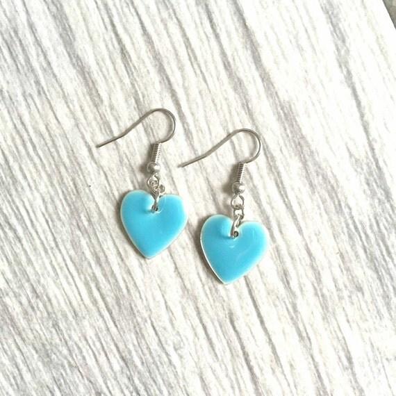 enable blue sky heart on stainless steal hook, les perles rares, handmade