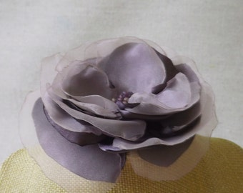 Flower Brooch or Hair Clip in Lilac Grey Satin & Organza