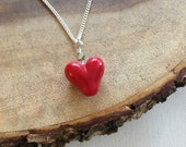 Bright Red Heart Lampwork Necklace, Valentines Necklace, Sweetheart Necklace, Gift For Her