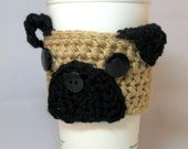 Pug Puppy Dog Crochet Coffee Cup Cozy - reusable sleeve for a handleless cup or wrap for a mug #pugmug