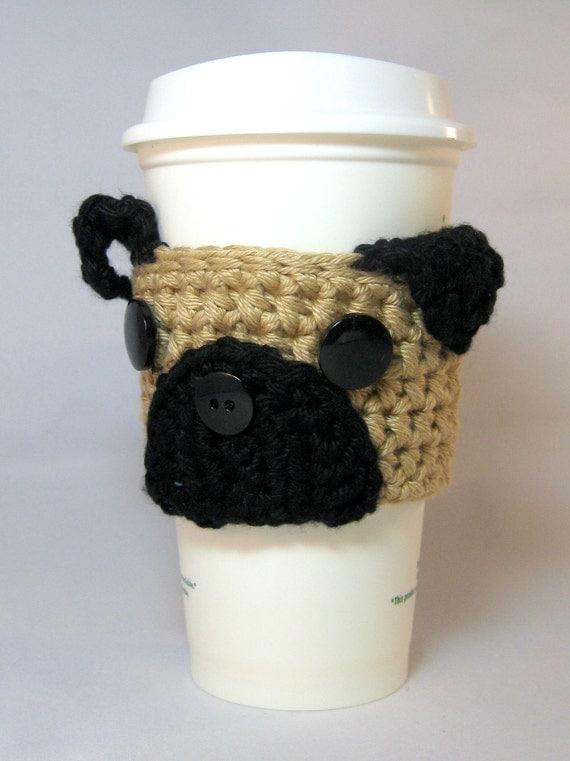 Pug Puppy Dog Crochet Coffee Cup Cozy - reusable sleeve for a handleless cup or wrap for a mug #pugmug