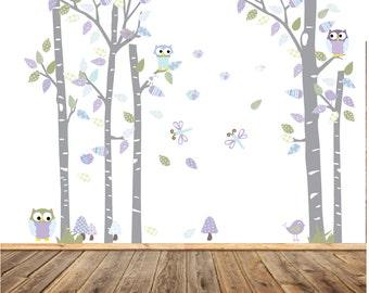 Wall Decals Nursery - Nursery wall decal - Birch Tree Decals - Baby Tree  Decal - Tree Decals - Nursery Wall Decals - lilac nursery